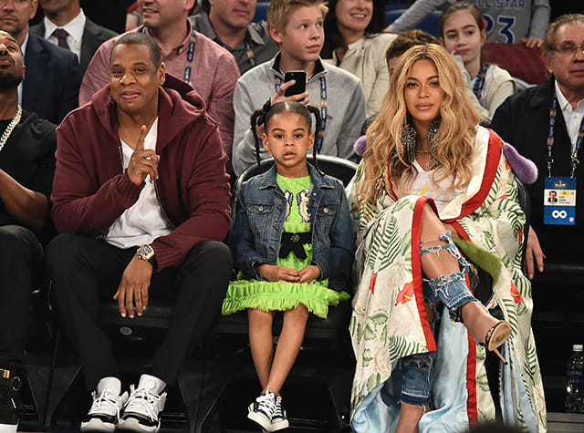 Jay Z, Blue Ivy and Beyoncé Attend The 66th NBA All-Star Game