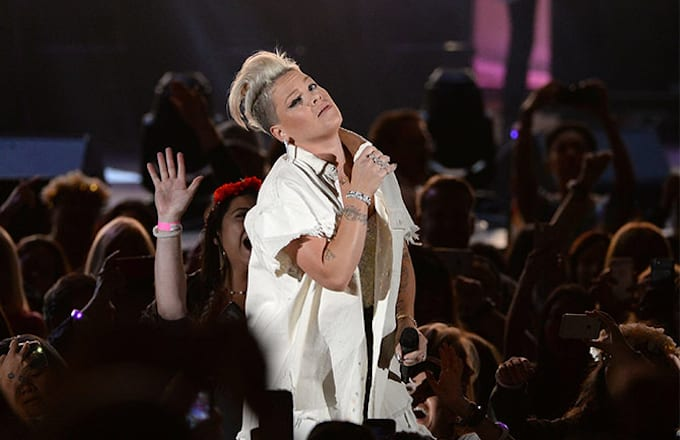 """Pink performs at the fifth annual """"We Can Survive"""" benefit concert."""