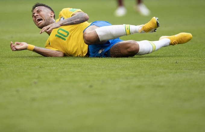 Neymar Jr of Brazil in action during the 2018 FIFA World Cup Russia Round of 16.