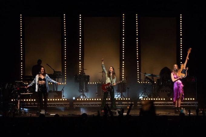 Alana Haim, Danielle Haim and Este Haim of Haim perform at O2 Academy Glasgow