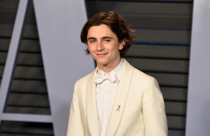 Timothee Chalamet attends the 2018 Vanity Fair Oscar Party.