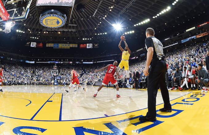 Referee looks on in Warriors vs. Rockets