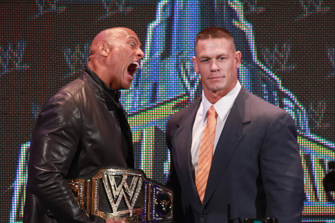 The Rock John Cena 2013 Getty
