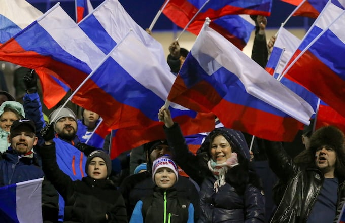 Russian fans waving flags