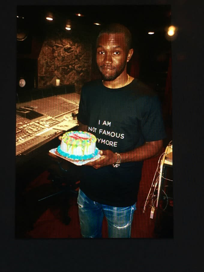 Frank Ocean with a birthday cake from Tyler, the Creator.
