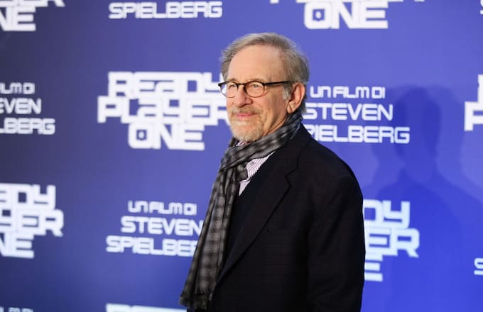 Director Steven Spielberg attends 'Ready Player One' photocall.