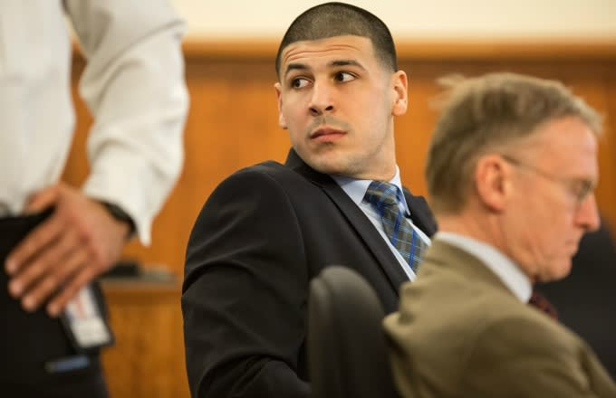 Aaron Hernandez looks on during his murder trial.