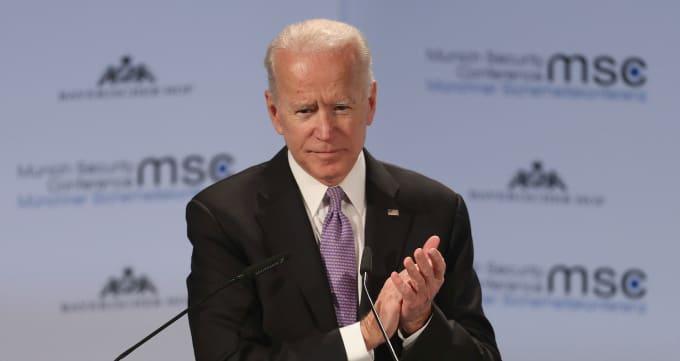 Former US vice president Joseph Biden gives his speech