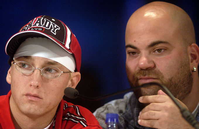 Eminem, left, and his manager Paul Rosenberg at the The Fox Theater in Detroit, MI