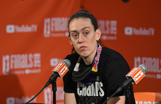 Breanna Stewart #30 of the Seattle Storm talks to the media during a press conference