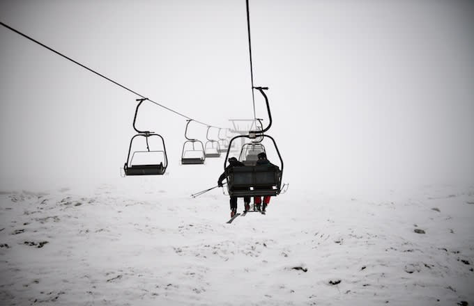 Skiers and snowboarders brave the winter conditions