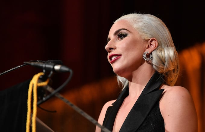 Lady Gaga accepts the Best Actress award for A Star Is Born.