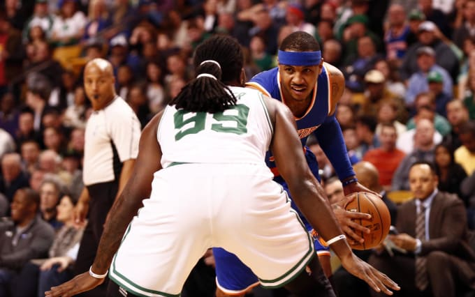 Carmelo Anthony Jae Crowder 2016 TD Garden