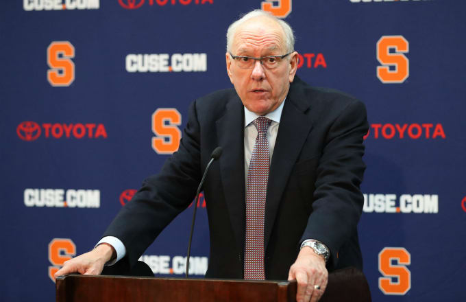 Head coach Jim Boeheim of the Syracuse Orange speaks with the media