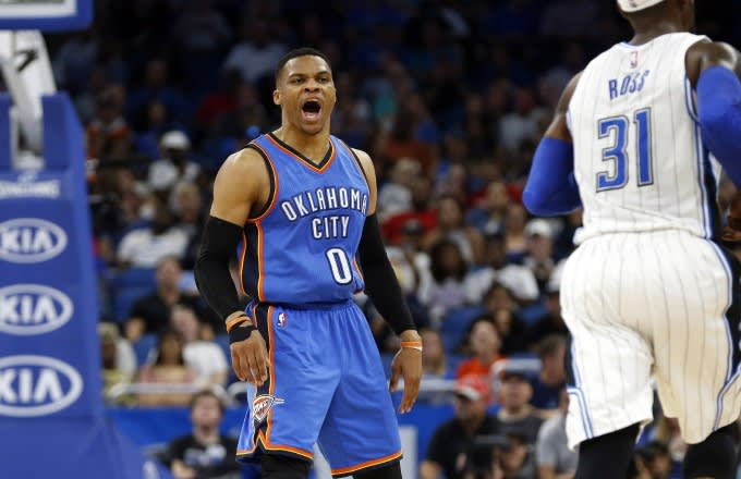 Russell Westbrook yells during a game against the Magic.