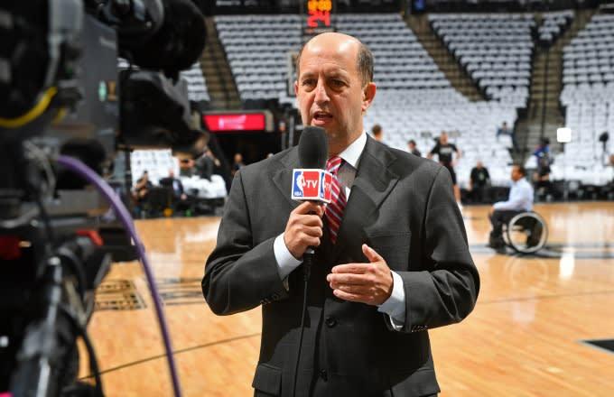 Jeff Van Gundy films a segment for ESPN.