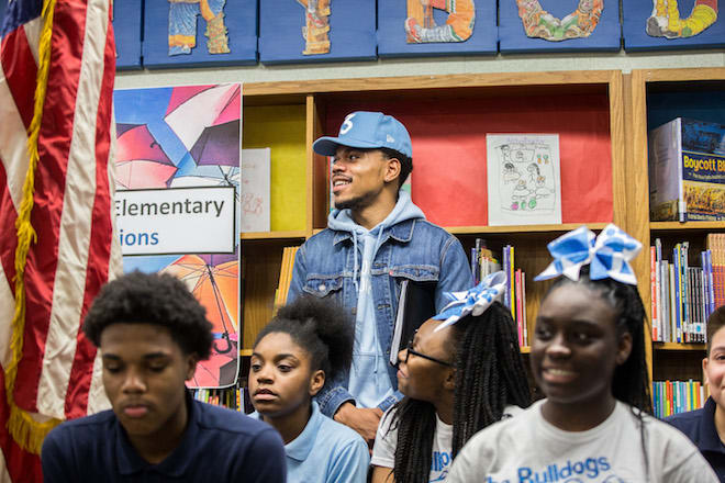Chance the Rapper announcing his $1 million to Chicago public schools.