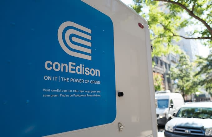 Logo for the electrical utility conEdison on the side of a truck on the Upper East Side.