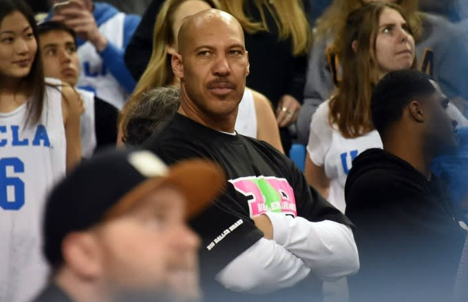 LaVar Ball in the crowd at a UCLA game.