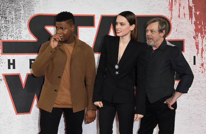 John Boyega, Daisy Ridley and Mark Hamill