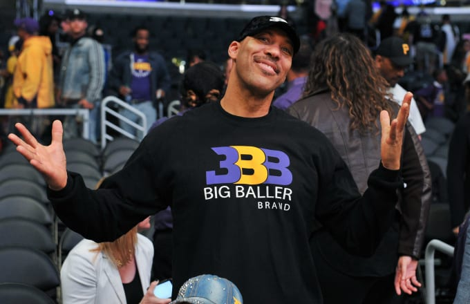 LaVar Ball attends a basketball game at Staples Center