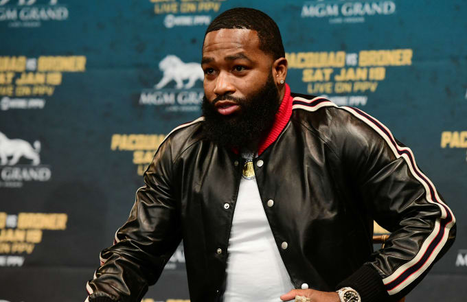 Adrien Broner speaks to the audience during a press conference