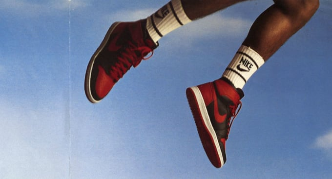 023f00287a00f0 Michael Jordan Air Jordan 1 Banned Ad 1985. Image via Nike. Few shoes ...