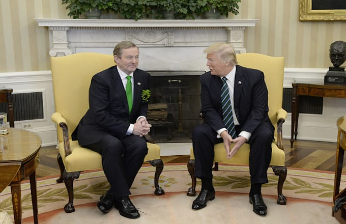 Ireland's prime minister, left, speaks with U.S. President Donald Trump