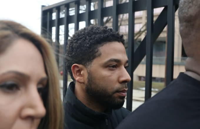 After bonding out, 'Empire' actor Jussie Smollett leaves the Cook County Jail