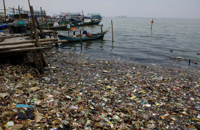 Plastic in the ocean on the north coast of Jakarta