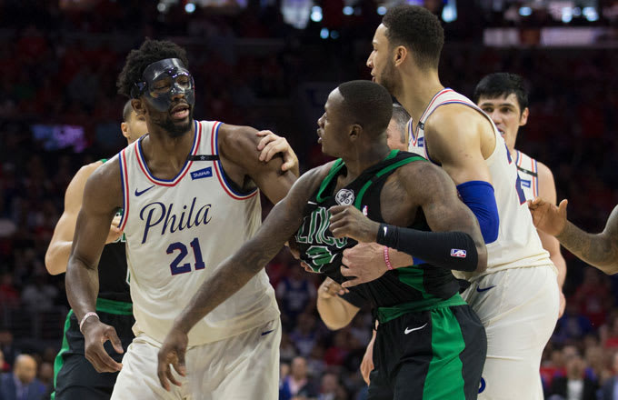 Terry Rozier and Joel Embiid have an altercation