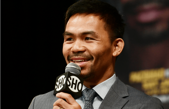 Manny Pacquiao smiles during a press conference at Gotham Hall