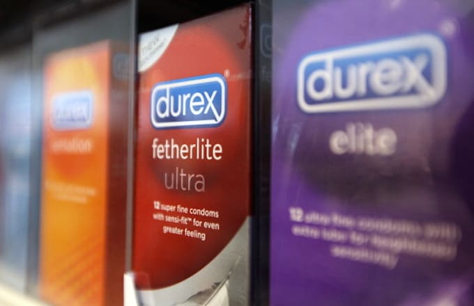 Packets of Durex fetherlite condoms