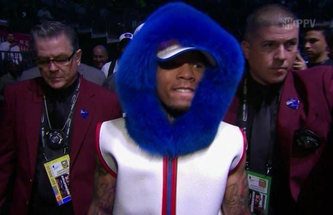 Gervonta Davis and his wild blue hoodie.