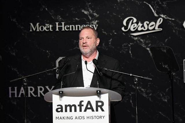 Harvey Weinstein speaks on stage at the amfAR Gala Cannes 2017