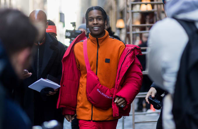 ASAP Rocky wearing a crossbody bag