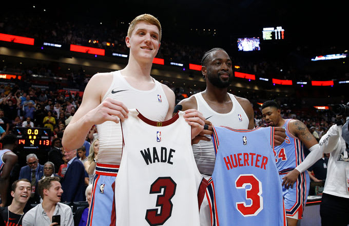 f1000dc7c17a Dwyane Wade Does Postgame Jersey Swap With Rookie Who Admired Him as a Kid