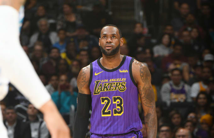 6681693fa64e LeBron James  23 of the Los Angeles Lakers is seen during the game