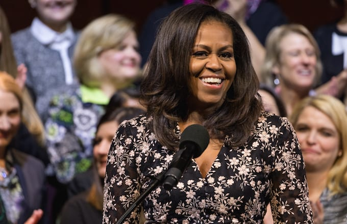 Michelle Obama presenting the 2018 School Counselor of the Year.