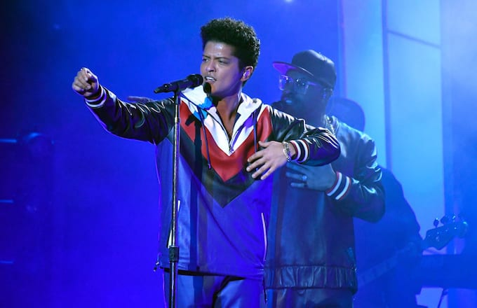 Bruno Mars performs at the 59th Annual Grammy Awards.