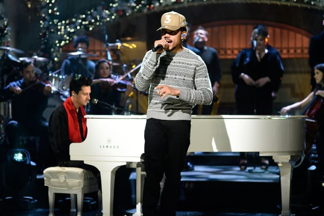 Chance The Rapper performs during 'Saturday Night Live' on December 17, 2016