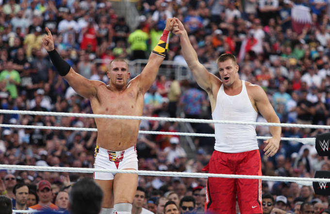 New England Patriots tight end Rob Gronkowski in the ring during WrestleMania 33