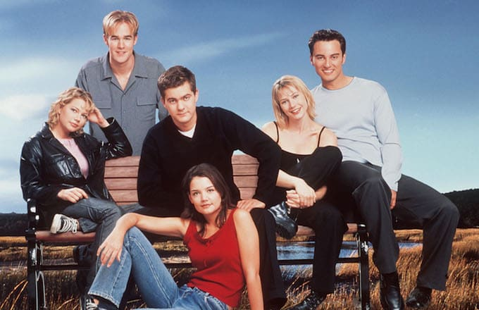 The cast of television's 'Dawson's Creek' poses for a photo.