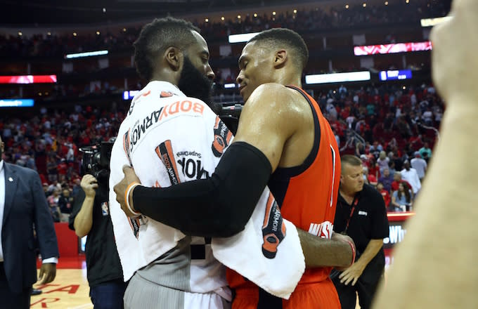 497a72f270d James Harden and Russell Westbrook embrace one another after game.