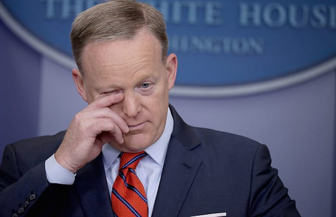 Sean Spicer answers reporters' questions during the daily news conference