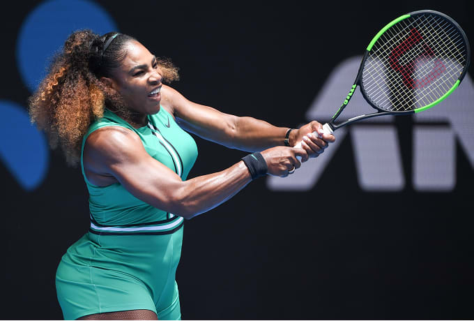 c01bd5e5d85 Serena Williams Rocks Green Romper and Fishnets at Australian Open ...