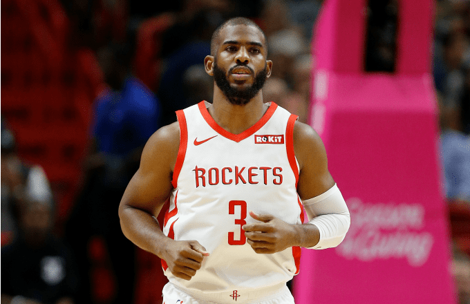 Chris Paul #3 of the Houston Rockets in action