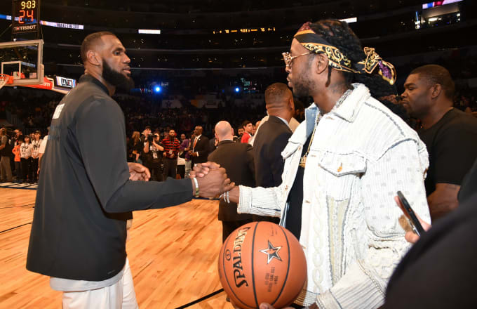 LeBron James (L) and 2 Chainz