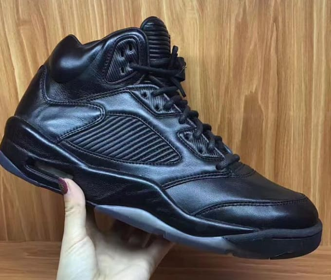 Black Leather Air Jordan 5 PRM