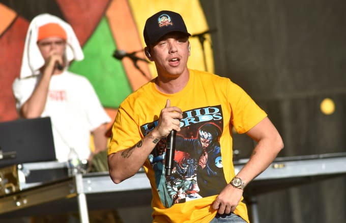 Logic performs during the 2019 New Orleans Jazz & Heritage Festival 50th Anniversary